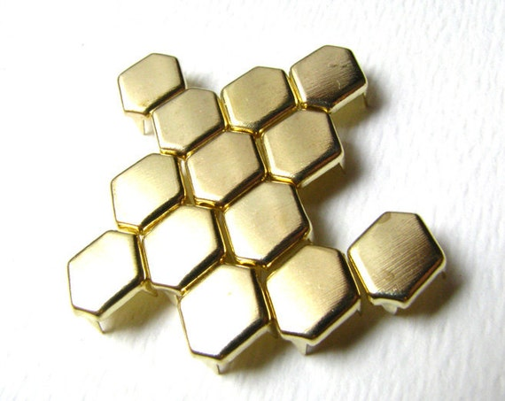 100 Hexagon Bright Gold Flat Metal Studs - 11mm x 8mm