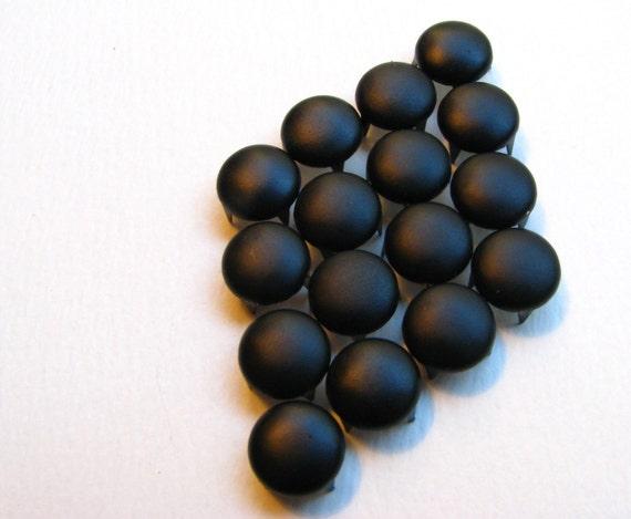 50 Medium Flat Carbon Black Round Nailhead Studs - 8mm