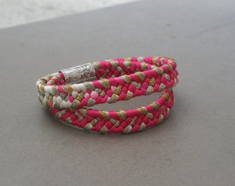 Double Obijime bracelet HOT PINK