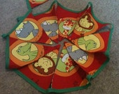 SALE...WAS 12.50, NOW 9.99. Handmade Children's Fabric Animal Bunting with Bright Spots & Stripes on Reverse. Party Bunting.