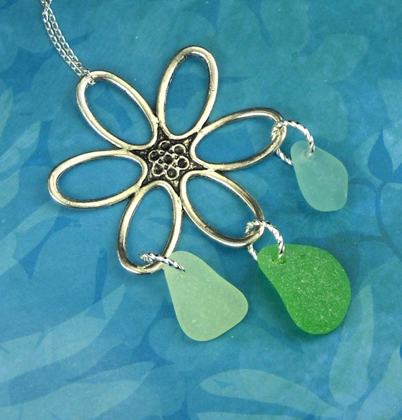 Flower Power Sea Glass Necklace