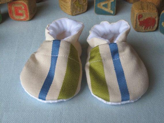 Baby Boy Booties - Green and Blue Stripe