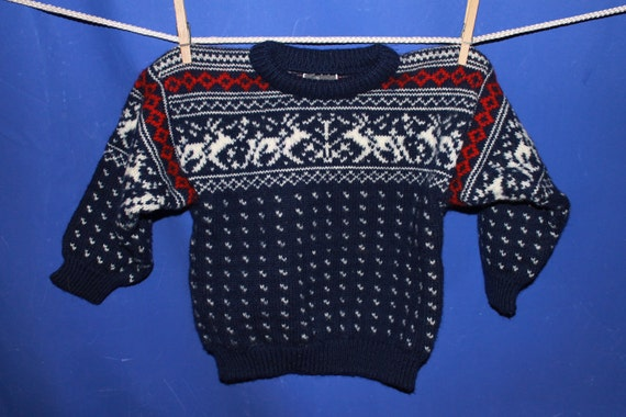 Vintage 80s Dale of Norway Designer Pure Wool Unisex Children's Ski Christmas Sweater Size 6