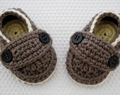 Baby Boy Loafer Booties in Taupe & Almond