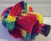 Rainbow crochet washcloth, scrunchie and bath salt set