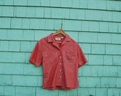 Hand embroidered vintage women's chambray blouse / bird mail delivery