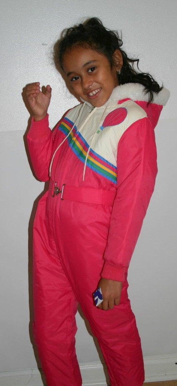 Vintage Pink And Rainbow Girls Snowsuit