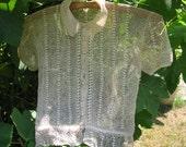 Early 1900s Handmade Delicate Crochet Blouse Beautiful Ecru Colour