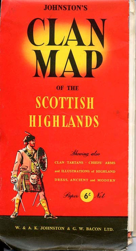 Johnston's Clan Map of the Scottish Highlands by