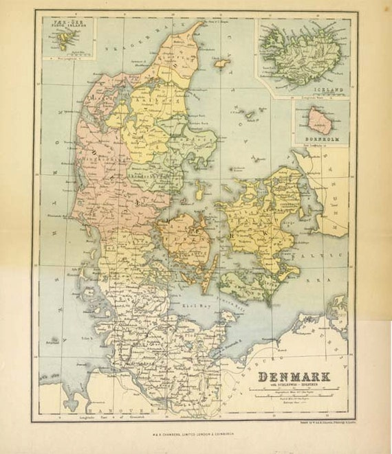 ANTIQUE DEMARK MAP 1895 Chambers Encyclopaedia