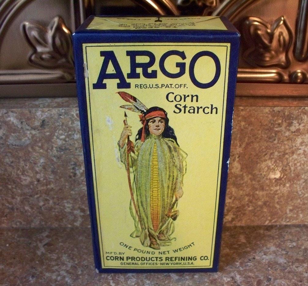 Vintage Argo Corn Starch Advertising Box With Corn Maiden