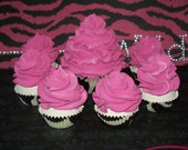 Zebra and Hot Pink Cupcake Set One Standard Six Mini Cupcakes for Little Girls Birthday Party, Photo Props, Magnets, Lights