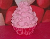 Original Pink Cheetah Fake Strawberry Cupcake perfect for your Little Girls Birthday Photo Prop, Party Favors or Decorations, Room Decor