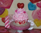 Love is in the Air Fake Valentine Cupcake White, Pink, Red, Hearts, Sprinkles, Home Decor, Gifts, Photo Props, Shop Display