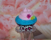 FAKE CUPCAKE Pink Black White Leopard, with Butterfly and Flower, Photo Prop, Birthday Party Decor, Kitchen Centerpiece, Room Decor