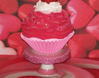 One Jumbo Fake Valentines Strawberry Cupcake, Pink, White, Red Heart on Top, great for Photography Prop, Party Decor, Centerpiece