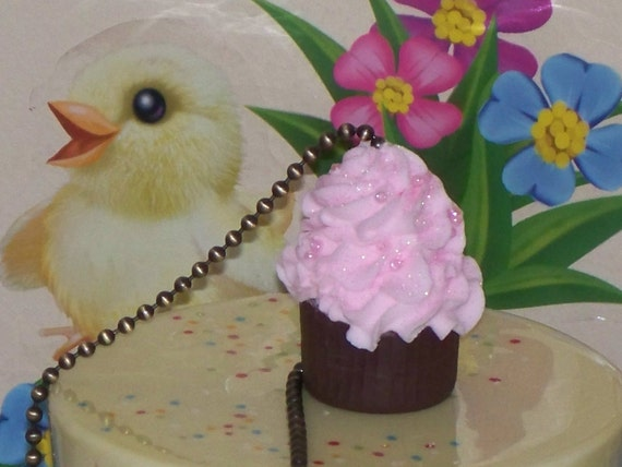 Fake Cupcake Creations Original Fake Chocolate Pink Cupcake Ceiling Fan Light Pull for Living Room, Kitchen, Gift, Cupcake Home Decor