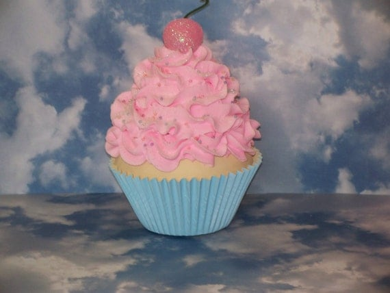 Jumbo Fake Vanilla Cupcake, Pastel Pink and Baby Blue great Birthday Photo Props, Party Decor, Favors, Home Decor