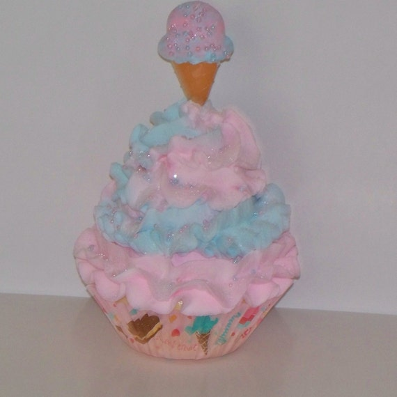 Fake Cotton Candy: Cotton Candy Fake Cupcake With Ice Cream By