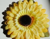 Barrette, Bright Sunflower with Leaf Attached to a Medium French Hair Barrette