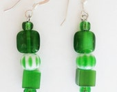 Silver Beadwork Earrings OOAK, Green Cube Cat's Eye Glass Beads with Green and White Chevron Beads