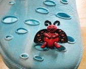 Smiling Happy Red Ladybug Croc / Clog Button - Charm with Red Heart Dots on the Wings for Boys or Girls