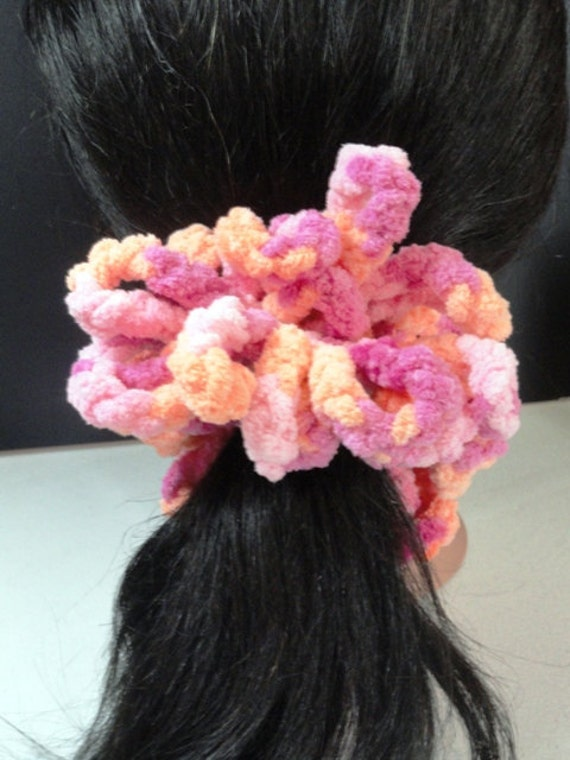Scrunchie, Colorful Pink, Purple and Orange Crocheted Ponytail Scrunchie