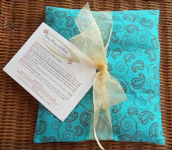 Therapeutic Rice Bag, Turquoise Cotton Fabric with Brown Leaf Pattern, Eco Friendly