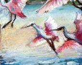 Aqua, oil pastel painting