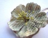 Natural Faux News Print Paper Floral Barrette Snap
