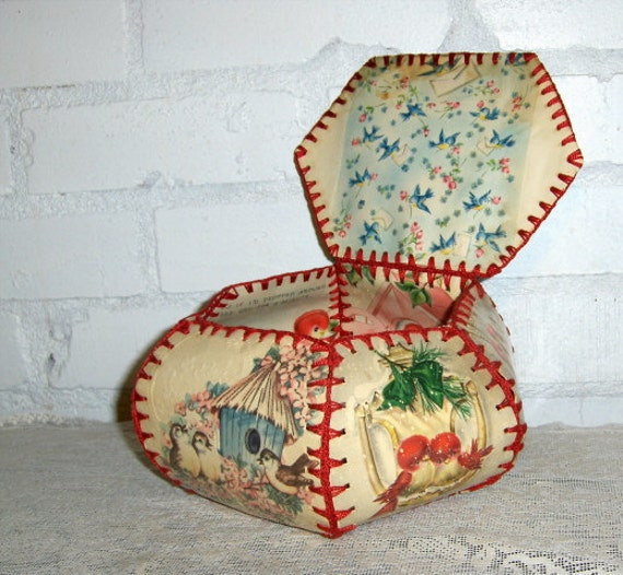 Antique Crocheted Card Box with Bird Theme -