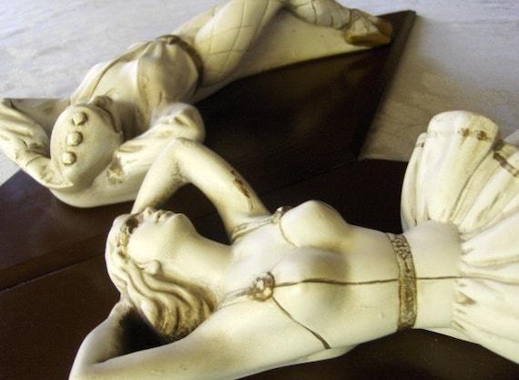 Chalk Plaques - Art Nouveau Style - Mid Century - Dancing Couple - Theatrical