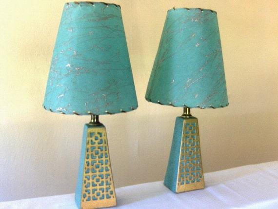 Turquoise Eames Era Lamp Set with Fiberglass shades By Plastco Mfg Co.
