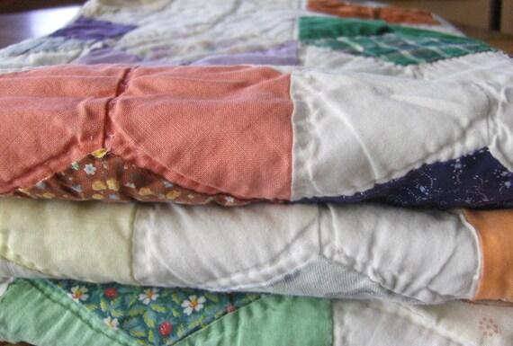 Vintage Star and Block Quilt - All Handstitched - Crib Quilt