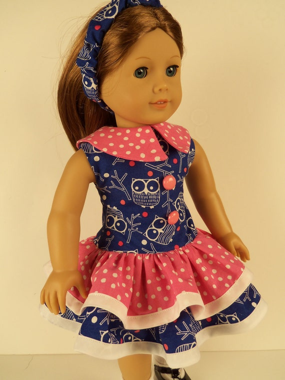 American Girl Doll Clothes, 1930s Ruffled Blue Owls and Twings Dress Fits 18 Inch Dolls - EM058