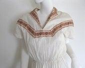 Vintage 40's/50's Rockabilly Swing Patio Squaw Dress Copper Bronze RickRack M L