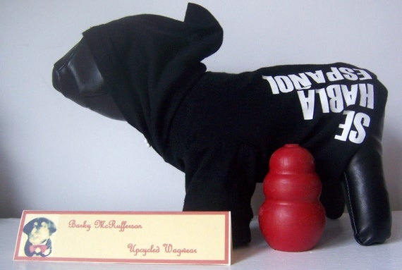"Upcycled ""Se Habla"" Black & White Dog Hoodie, Size xs, by Barky McRufferson 20% OFF w/ BARKY2013"