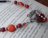 Bookmark  Lucky Orange, monogrammed, vintage type key and dice