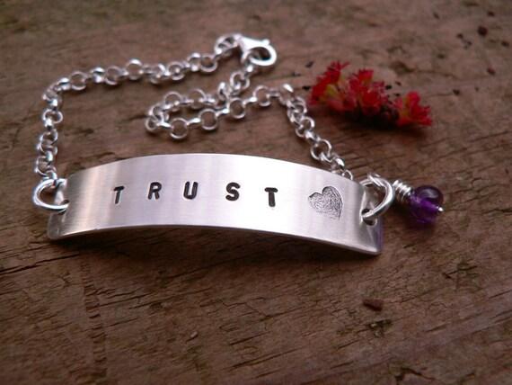 TRUST - Brushed Sterling Silver Rolo Bracelet
