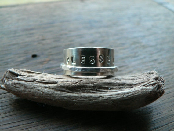 RESERVED for Jane - Hidden Message - Personalized Rustic SS Spinner Ring