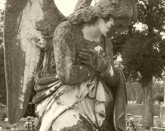 Supplication - Sepia Angel Photograph 5 x 7