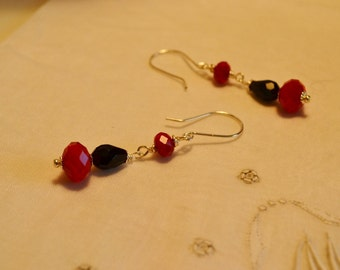 Red Czech Crystal, Black Onyx and Silver Earrings