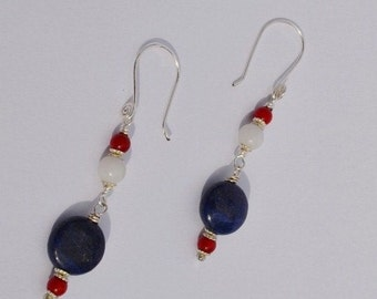 Lapis, Red Coral, White Marble and Silver Earrings