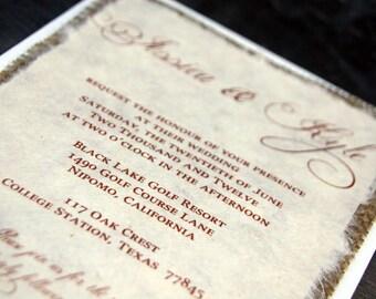 Pre Made Simple Rustic Burlap Wedding Invitation - Rustic Barn Wedding