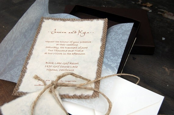 Do It Yourself  D-I-Y Rustic Burlap and Vellum Lace Wedding Invitation in Envelope - Rustic Barn Wedding