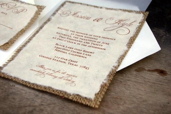 D I Y Simple Rustic Burlap Wedding Invitation   Rustic Barn Wedding