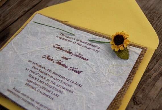 Burlap Wedding Invitations Diy: Do It Yourself D-I-Y Rustic Burlap Sunflower By