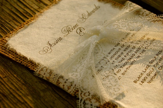 Burlap Wedding Invitations: Items Similar To Pre Made Lace And Burlap Wedding