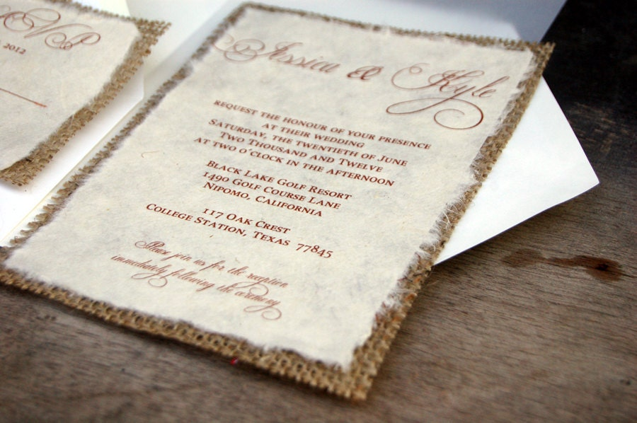 d-i-y simple rustic burlap wedding invitation rustic barn, Wedding invitations