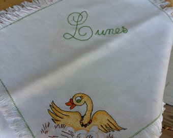 Vintage napkins towels days of the week kitchen vintage ducks in spanish
